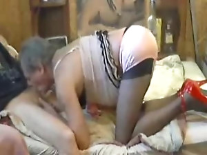 Sissy Boy 555 mature crossdresser humiliated sucking cock