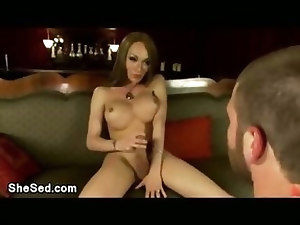 Gorgeous busty tranny fucks guy